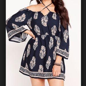 Missguided Curve Blue Off The Shoulder Dress